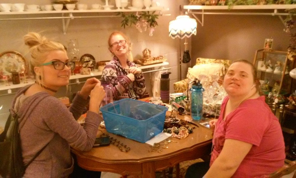 Here, our Work Skills Staff is sorting and pricing jewelry.  They were happy they got to work in the Vintage Room.