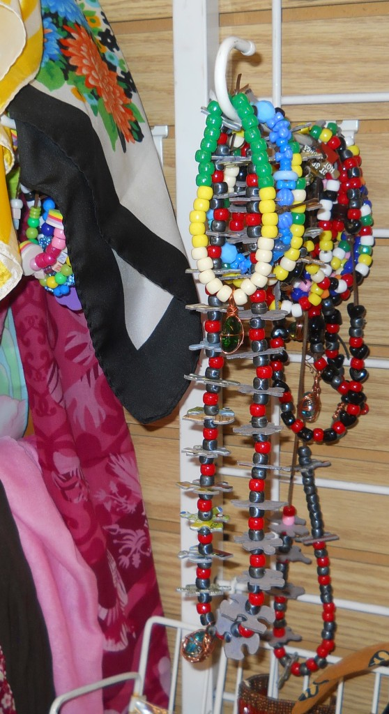 Here is some of the beautiful jewelry our Work Skills Staff made.  People love them and the children are drawn to their bright colors!